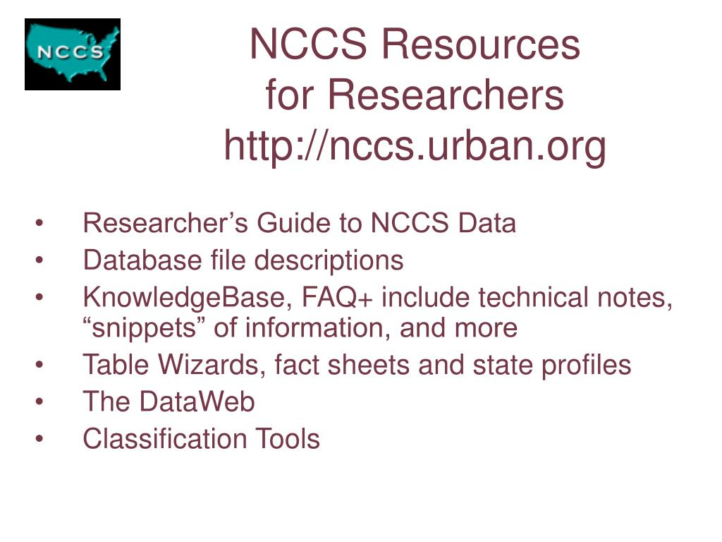 NCCS Resources