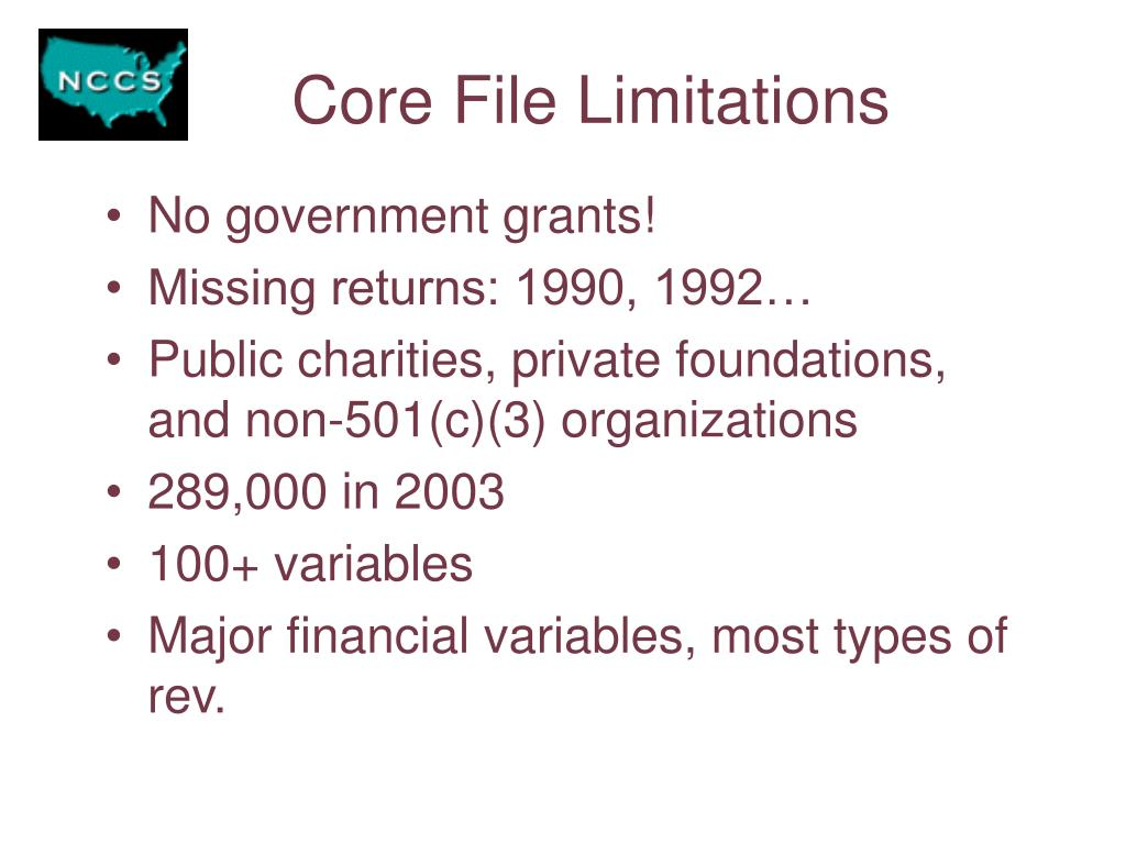 Core File Limitations