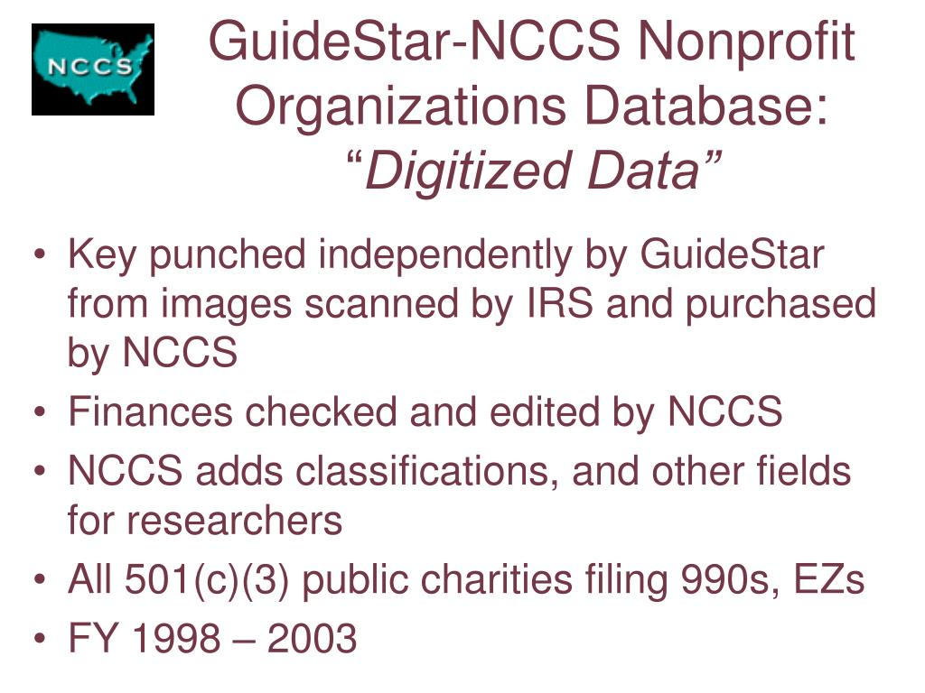 GuideStar-NCCS Nonprofit Organizations Database: