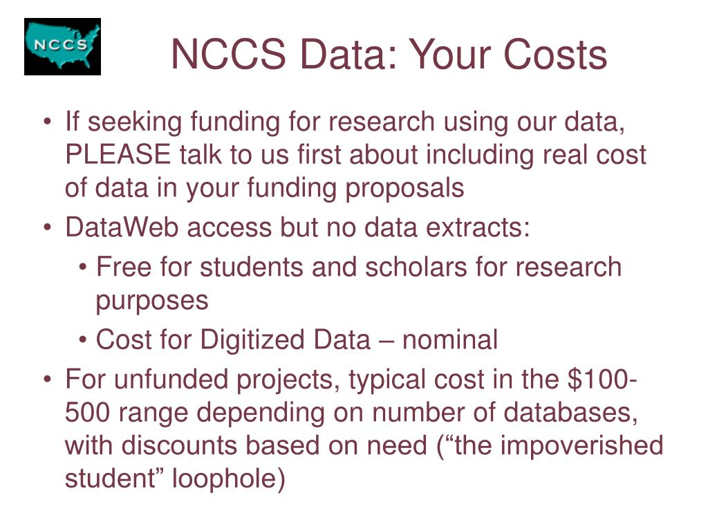 NCCS Data: Your Costs