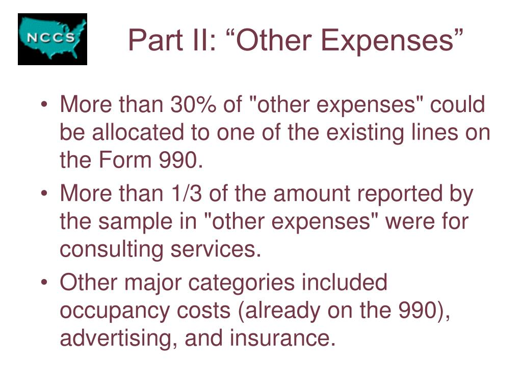 "Part II: ""Other Expenses"""