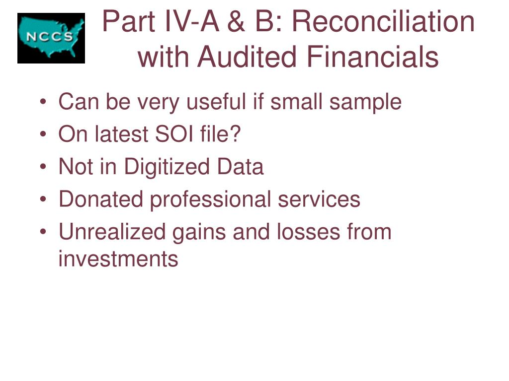 Part IV-A & B: Reconciliation with Audited Financials