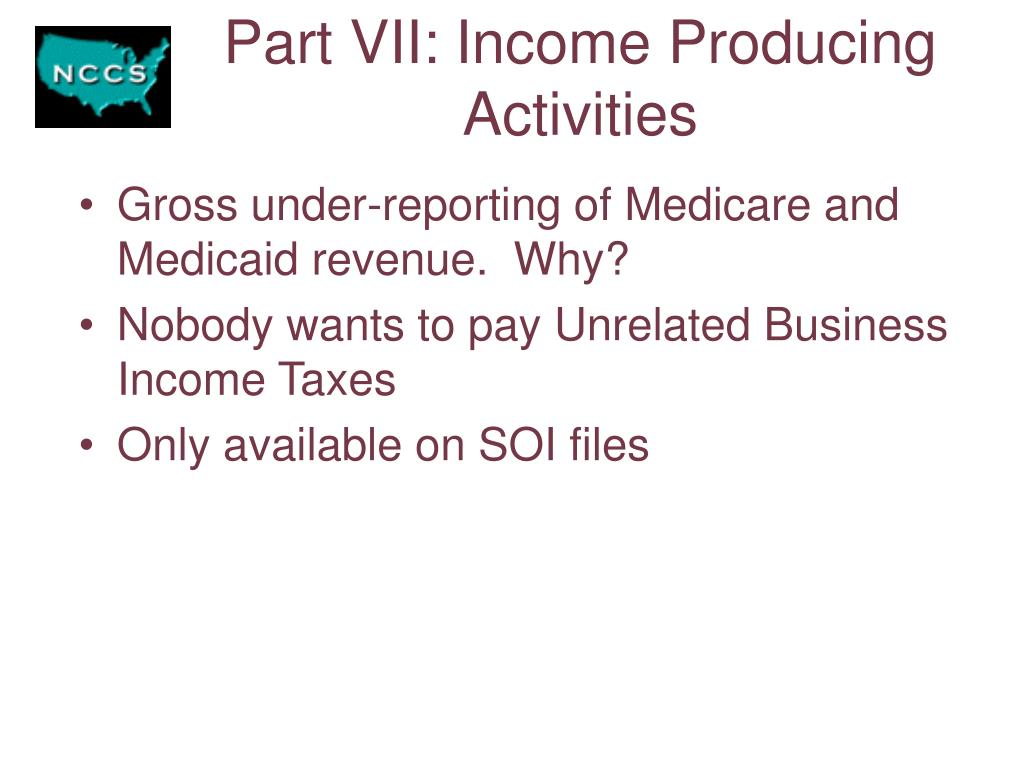 Part VII: Income Producing Activities