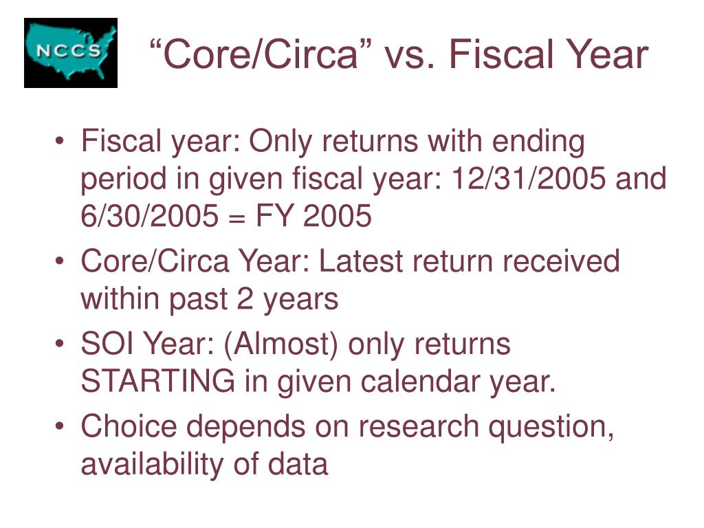 """Core/Circa"" vs. Fiscal Year"