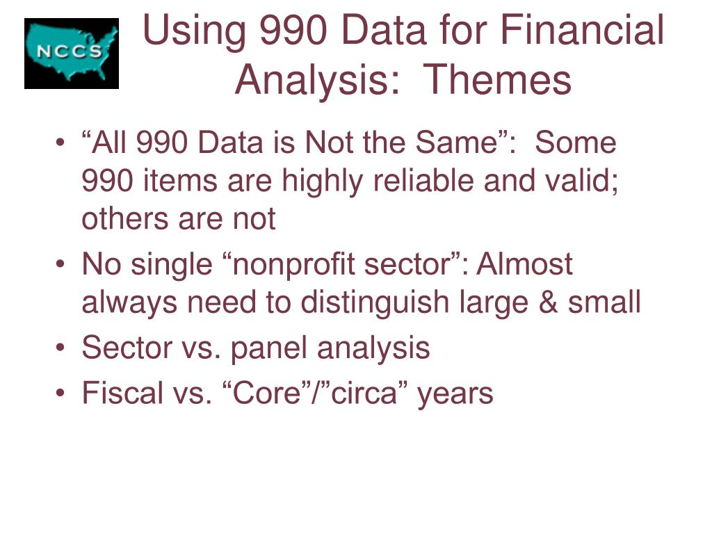 Using 990 Data for Financial Analysis:  Themes