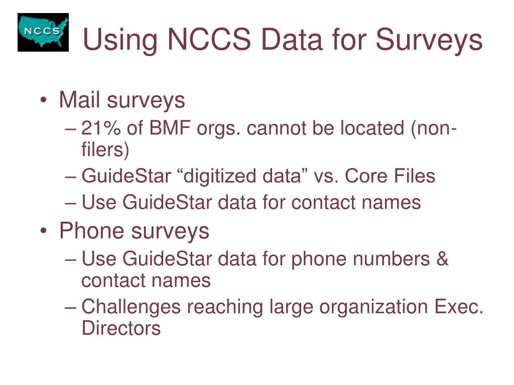 Using NCCS Data for Surveys