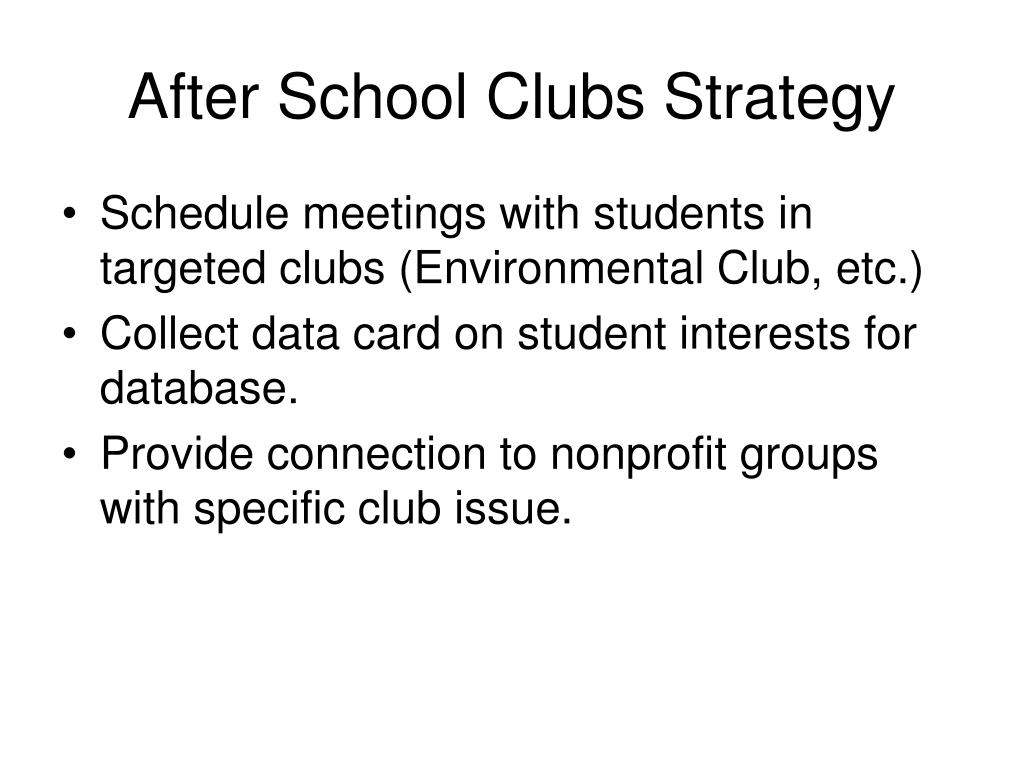 After School Clubs Strategy