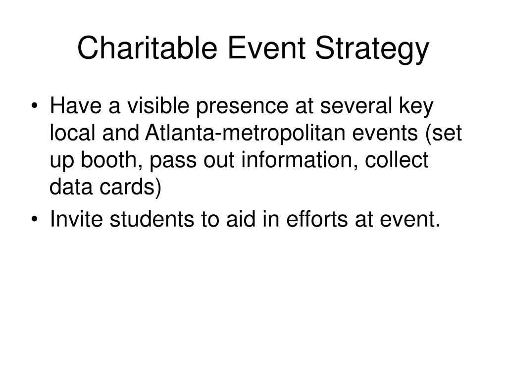 Charitable Event Strategy