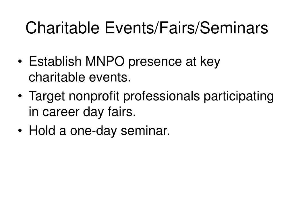 Charitable Events/Fairs/Seminars