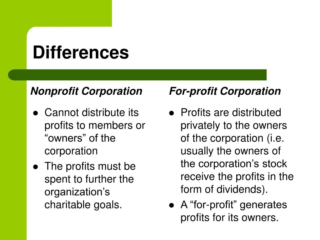 """Cannot distribute its profits to members or """"owners"""" of the corporation"""