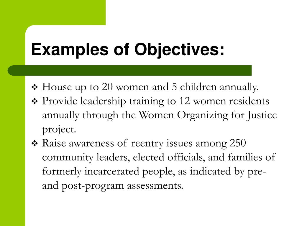 Examples of Objectives: