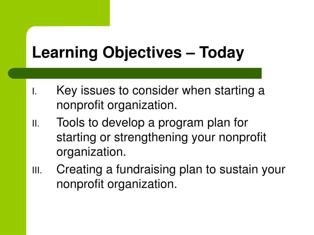 Learning Objectives – Today