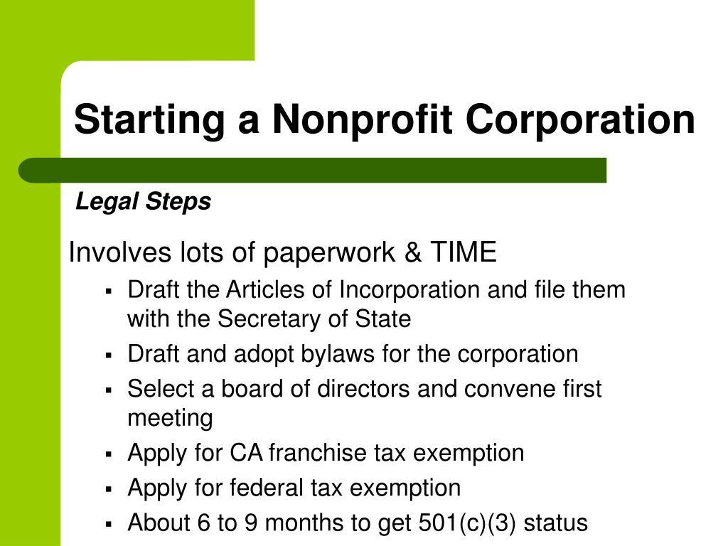 Starting a Nonprofit Corporation