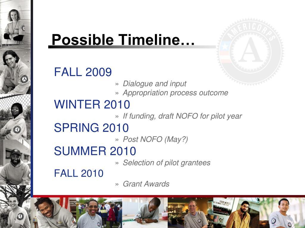 Possible Timeline…
