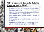 why a nonprofit capacity building program in the saa8