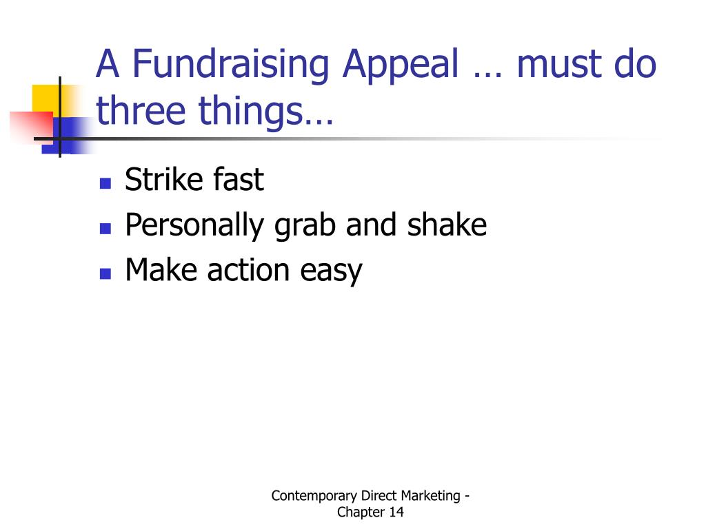A Fundraising Appeal … must do three things…