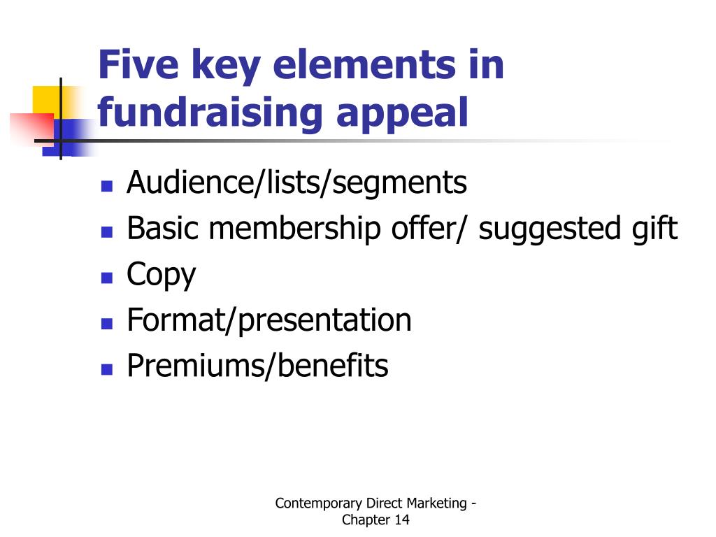 Five key elements in fundraising appeal