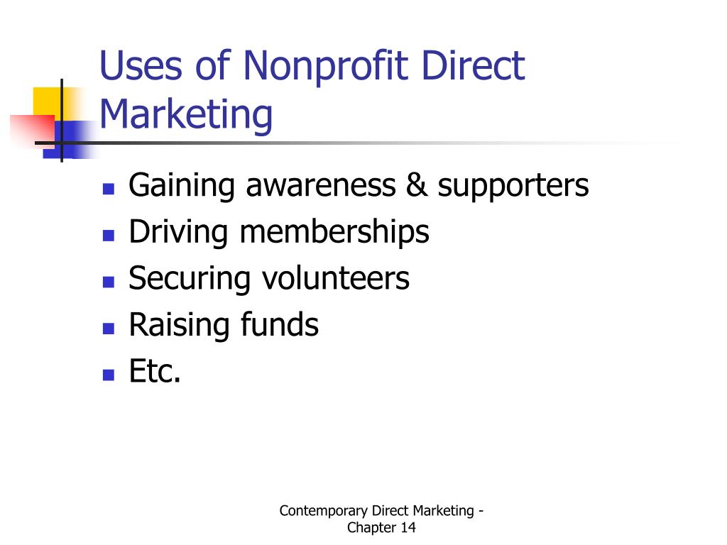 Uses of Nonprofit Direct Marketing