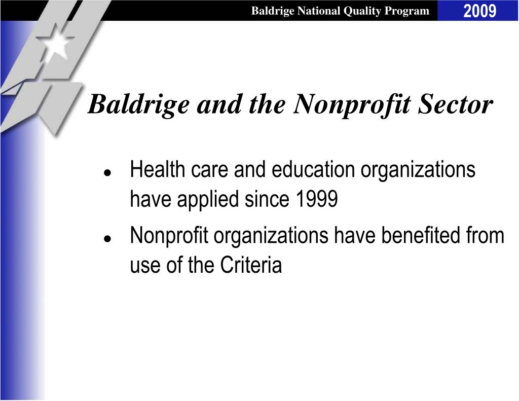 Baldrige and the Nonprofit Sector