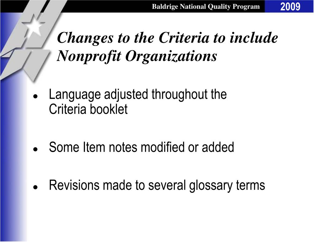 Changes to the Criteria to include Nonprofit Organizations