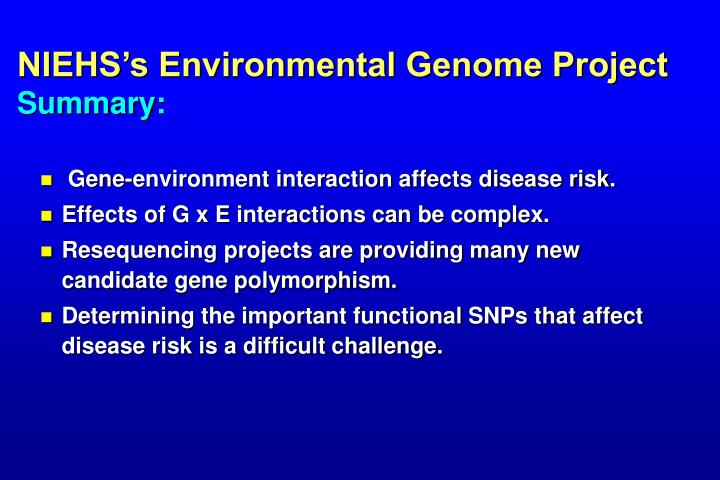NIEHS's Environmental Genome Project