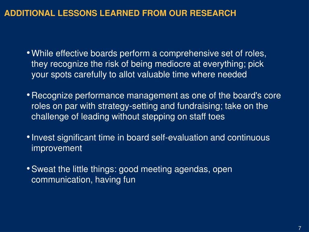 ADDITIONAL LESSONS LEARNED FROM OUR RESEARCH