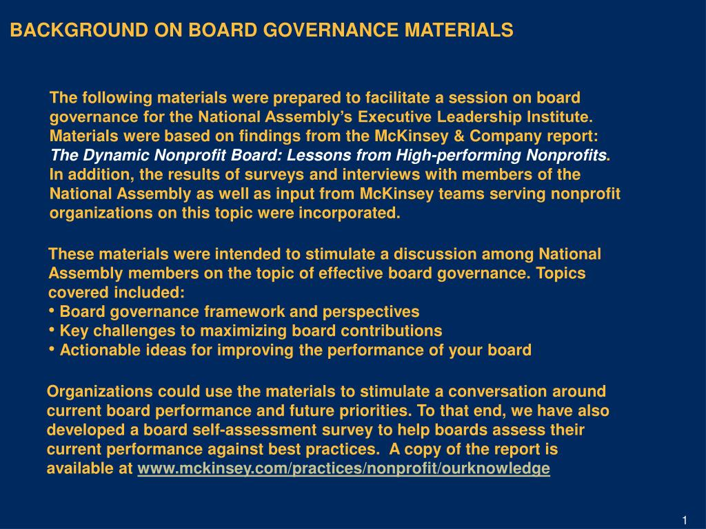 BACKGROUND ON BOARD GOVERNANCE MATERIALS