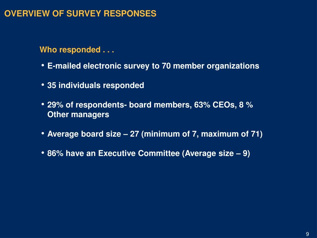 OVERVIEW OF SURVEY RESPONSES