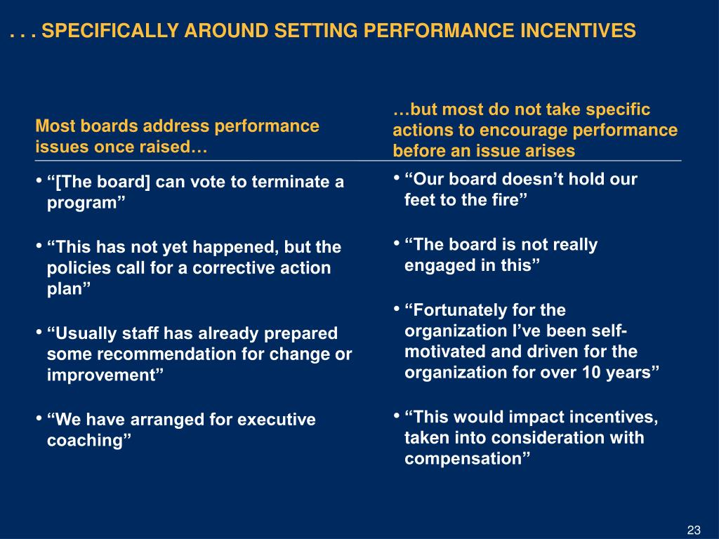 . . . SPECIFICALLY AROUND SETTING PERFORMANCE INCENTIVES