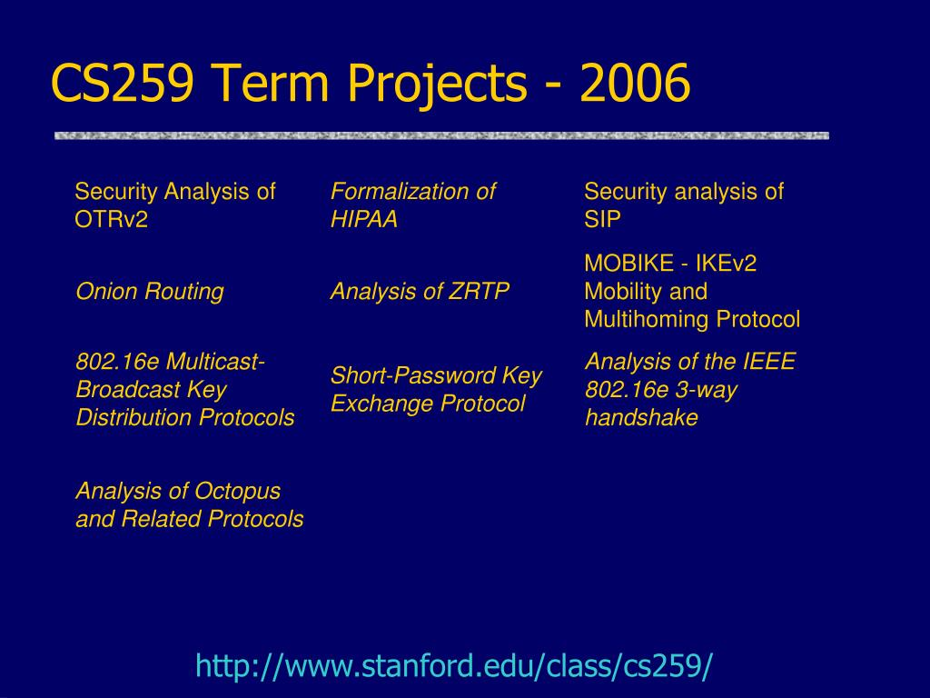 CS259 Term Projects - 2006