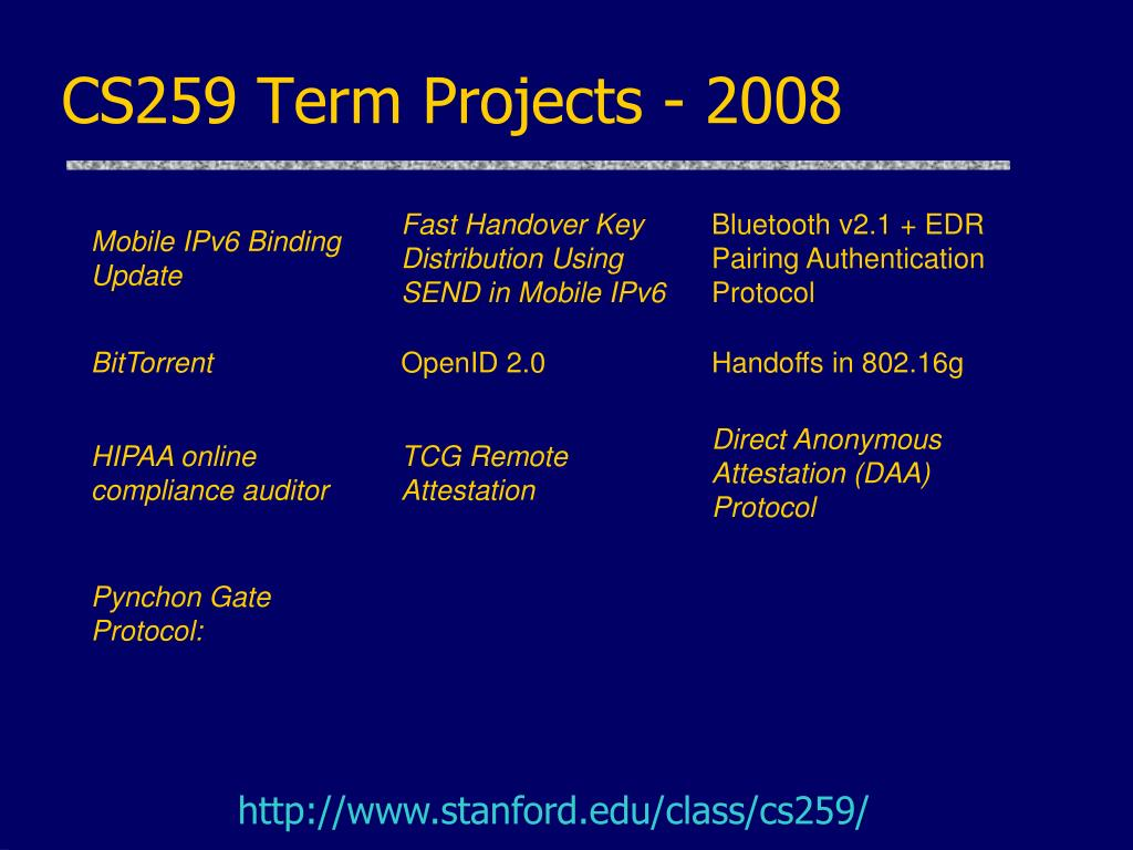 CS259 Term Projects - 2008