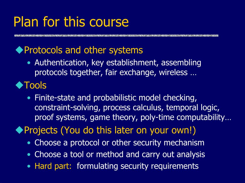 Plan for this course