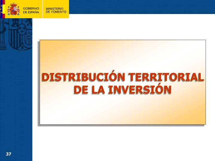 DISTRIBUCIÓN TERRITORIAL DE LA INVERSIÓN