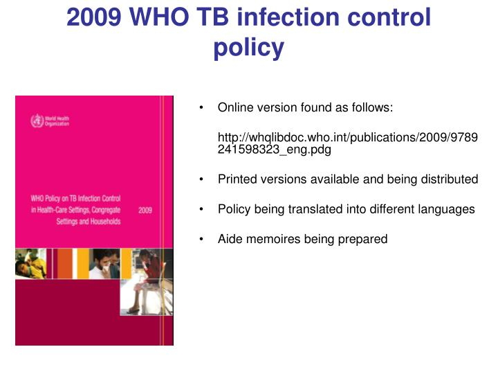 2009 WHO TB infection control policy
