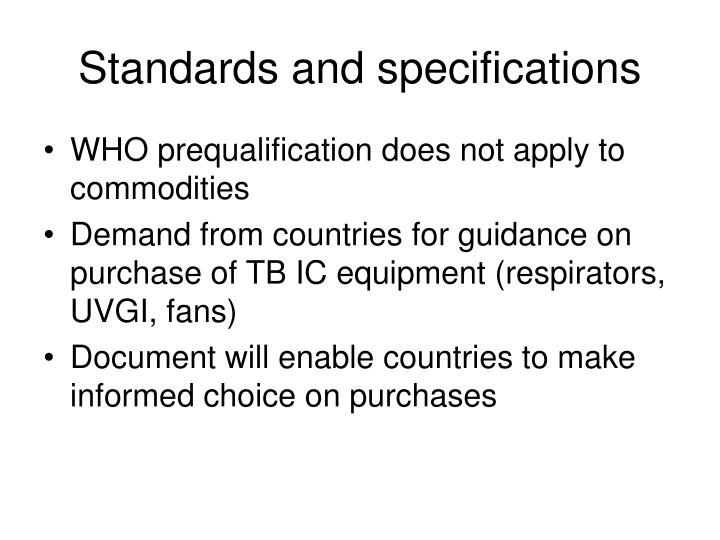 Standards and specifications
