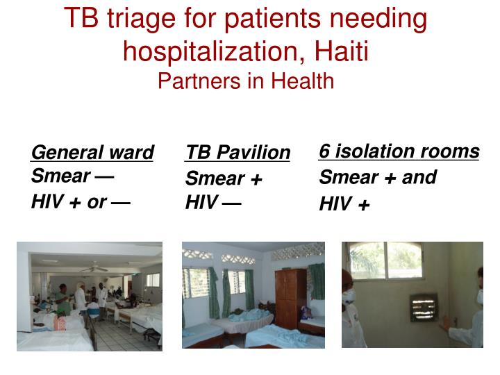 TB triage for patients needing hospitalization, Haiti