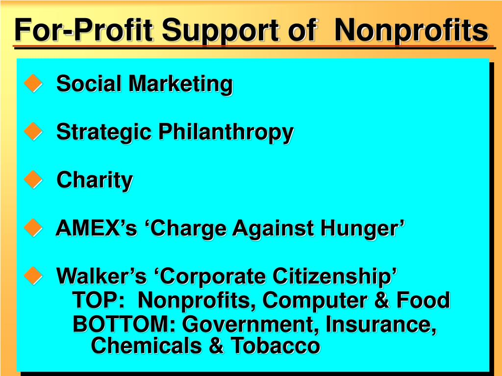 For-Profit Support of  Nonprofits