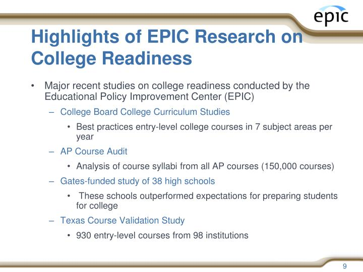 Highlights of EPIC Research on College Readiness