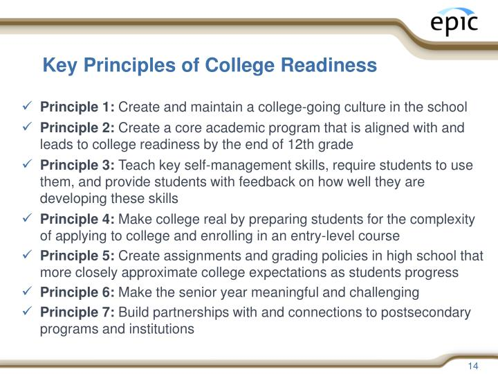 Key Principles of College Readiness