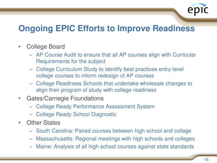 Ongoing EPIC Efforts to Improve Readiness