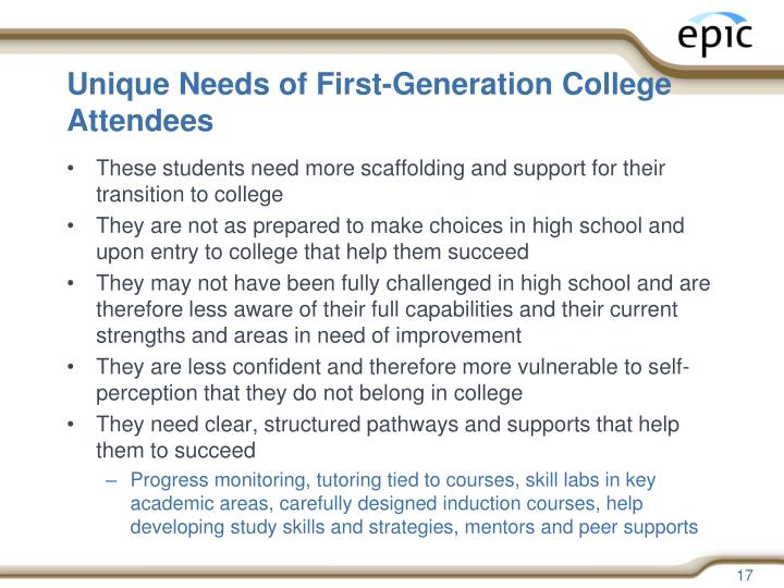 Unique Needs of First-Generation College Attendees