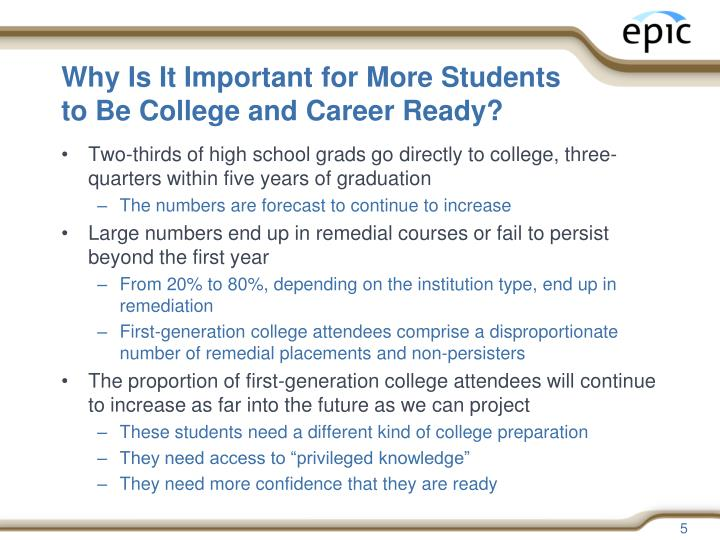 Why Is It Important for More Students to Be College and Career Ready?