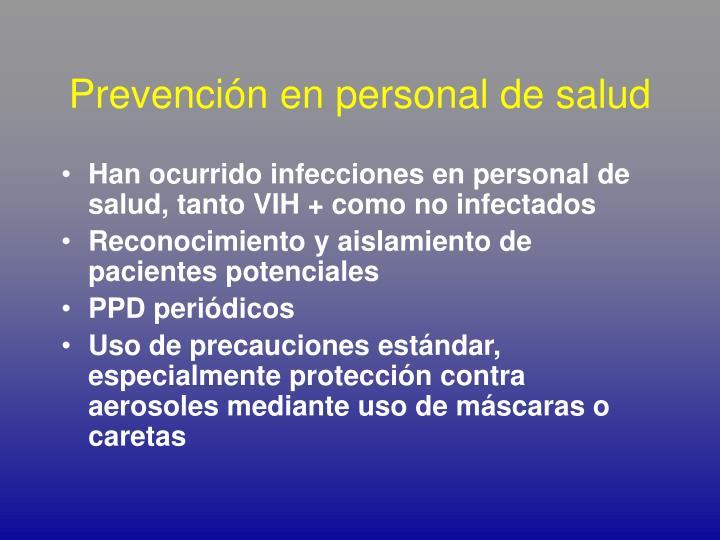 Prevención en personal de salud
