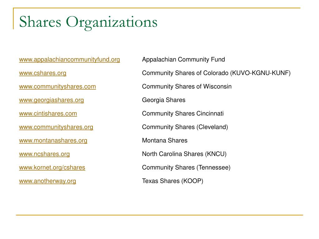 Shares Organizations