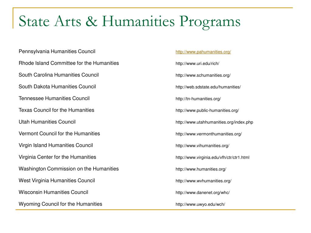 State Arts & Humanities Programs