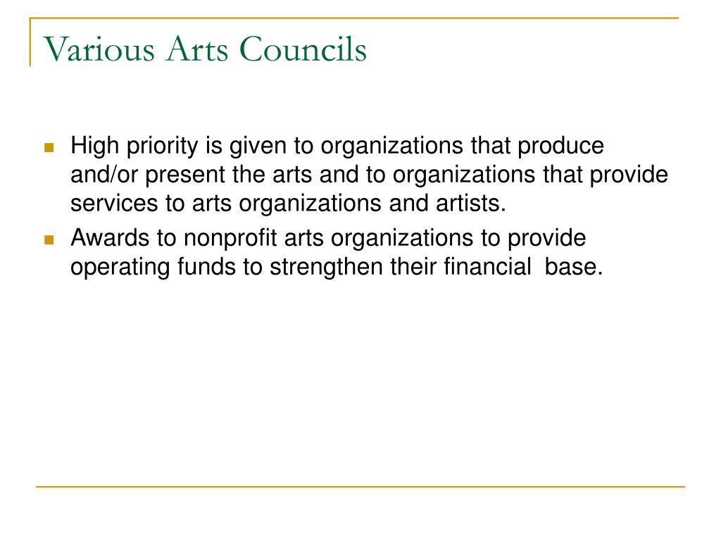 Various Arts Councils
