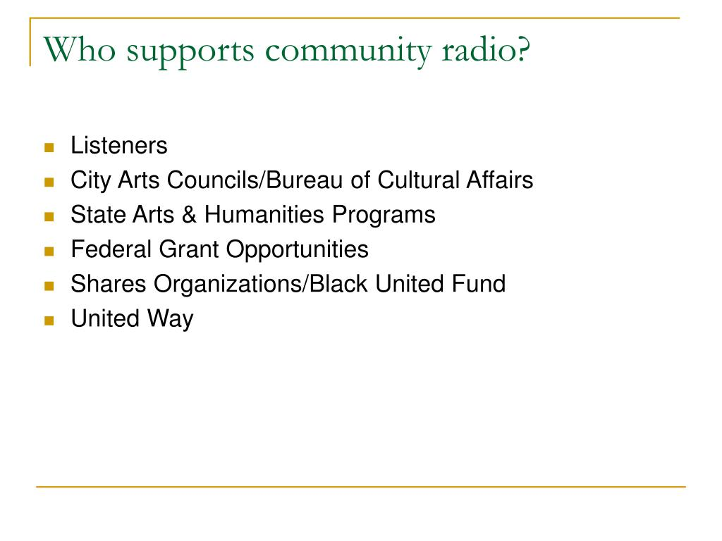 Who supports community radio?