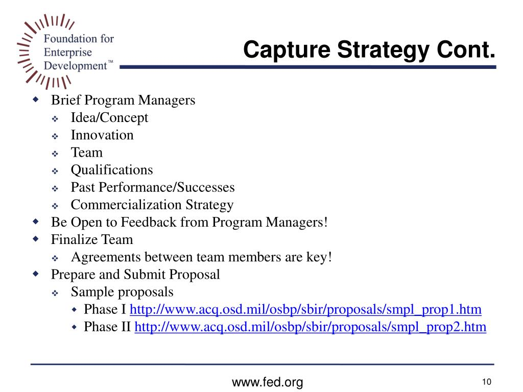 Capture Strategy Cont.