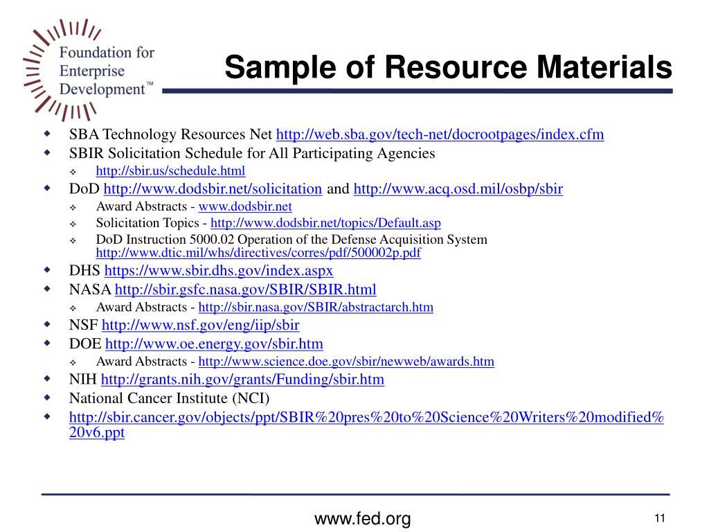 Sample of Resource Materials