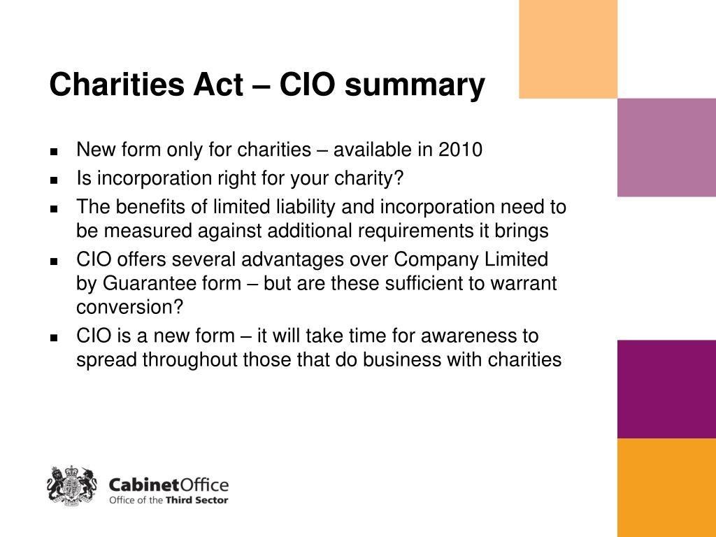 Charities Act – CIO summary